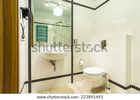 Horizontal view of black and white bathroom