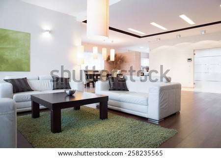 Horizontal view of bright space inside apartment - stock photo