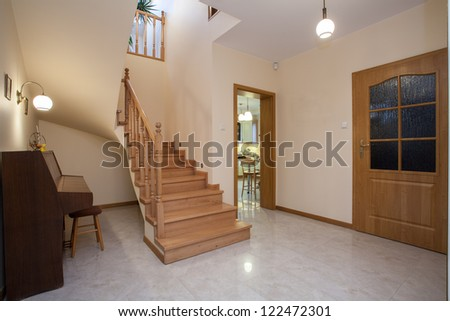 Horizontal view of corridor in traditional house - stock photo
