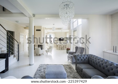 Horizontal view of interior of luxury apartment - stock photo