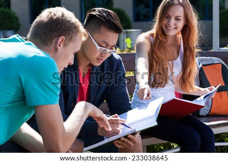 Horizontal view of learning together during summer - stock photo