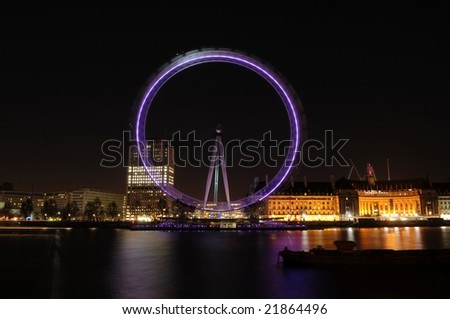 Horizontal view of London Eye in night