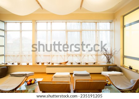 Horizontal view of luxury spa room interior
