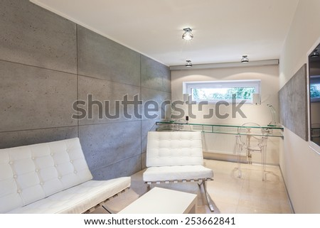 Horizontal view of modern and expensive interior - stock photo