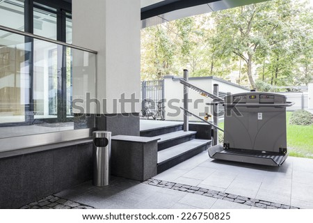 Horizontal view of the elevator for disabled  - stock photo