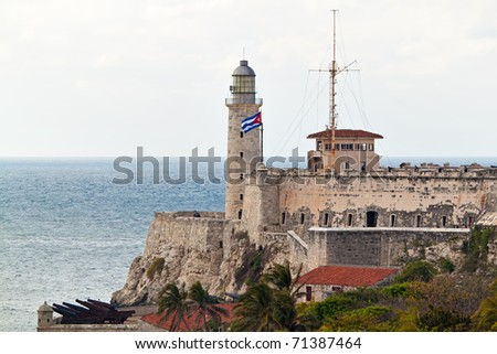 Horizontal view of the famous castle of El Morro at the entrance of the bay of Havana - stock photo