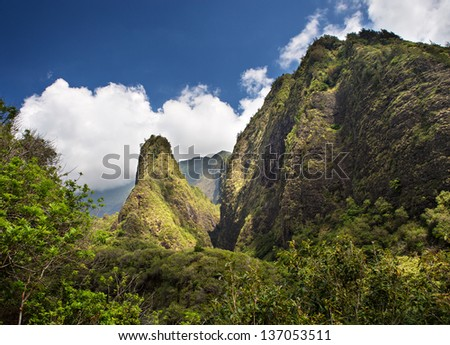 Horizontal view of the Iao Needle located on the Hawaiian Island of Maui - stock photo