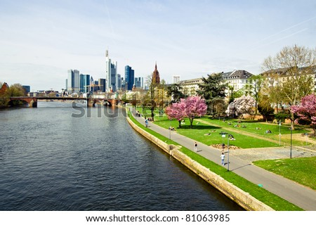 Horizontal view of the skyline of of the business and financial center Frankfurt am Main - stock photo