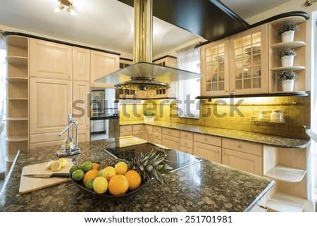 Horizontal view of traditional style kitchen interior - stock photo