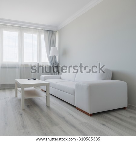 Horizontal view of white living room design
