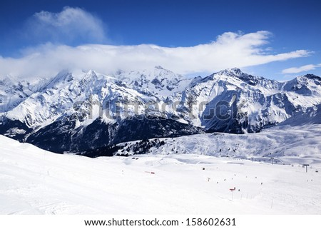 Horizontal view of winter mountain landscape