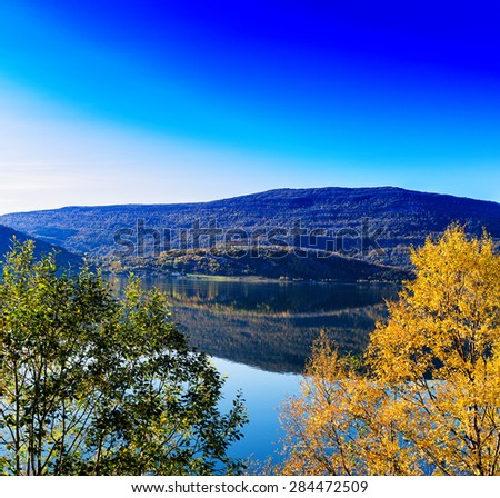 Horizontal vivid autumn in Norway background backdrop - stock photo