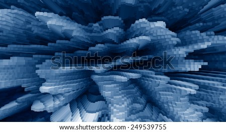 Horizontal vivid blue business extrude cube abstraction background backdrop - stock photo