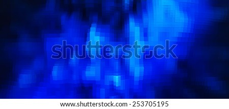Horizontal vivid blue 3d pixel cube extrude business abstraction background backdrop - stock photo