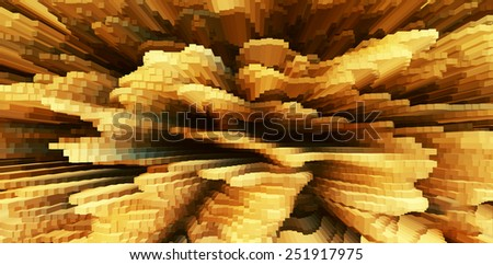 Horizontal vivid orange business extrude cube abstraction background backdrop - stock photo