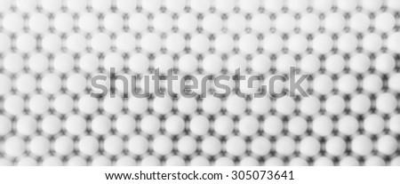Horizontal white ball spheres digital abstraction background - stock photo