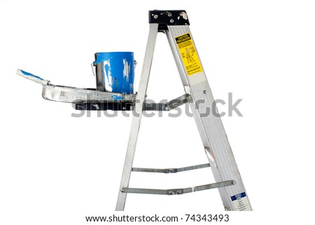 Horizontalimage of  a paint can, paint roller and tray on a ladder on white - stock photo