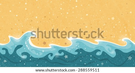 Horizontally tiling border creating a distressed seamless pattern of sand and water waves and bubbles. Great summer sun holiday design element. - stock photo