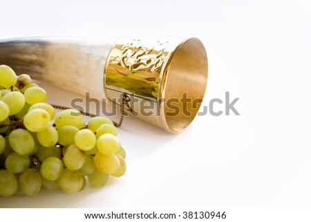 horn and vine in white - stock photo