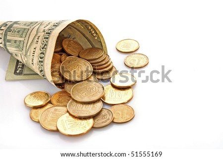 Horn from dollar denominations with coins