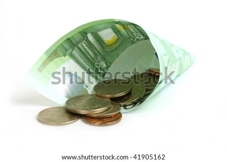 horn from euro denominations with fine coins - stock photo