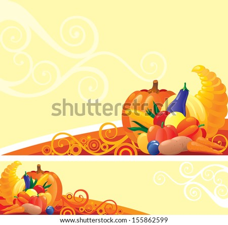 Horn of Plenty. Background and banner of Horn of Plenty with pumpkins and other vegetables on abstract background - stock photo