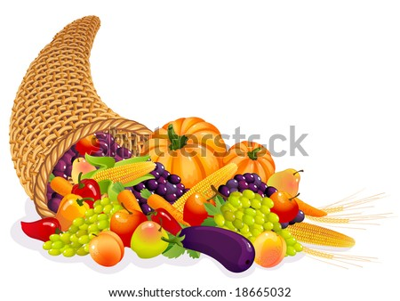 Horn of Plenty with  vegetables and fruits - stock photo