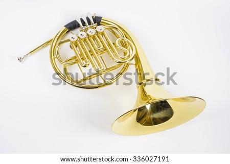 Horn on white - stock photo