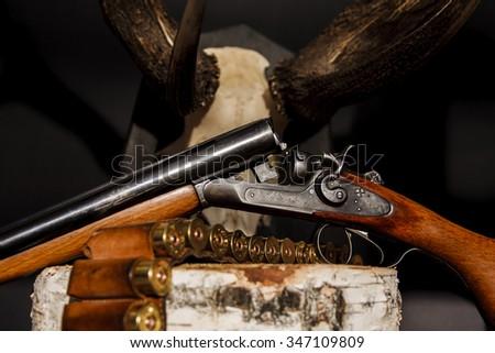 Horn, rifle, ammunition - stock photo