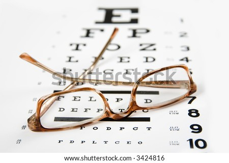 horn rim readingglasses sitting on top of an eye exam chart, forground sharp and background soft