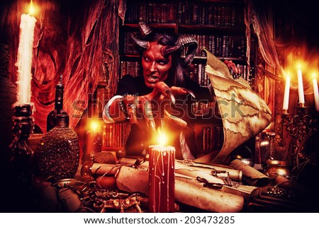 Horned Devil in his home. Fantasy. Ancient style. Halloween. - stock photo
