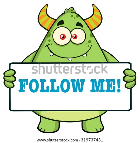Horned Green Monster Cartoon Character Holding Follow Me Sign. Raster Illustration Isolated On White - stock photo