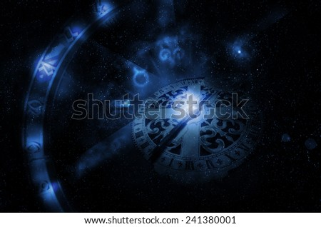 horoscope wheel - stock photo