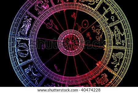Horoscope wheel chart - stock photo