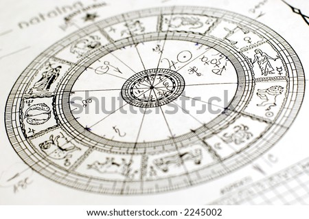 Horoscope wheel chart blured on white paper - stock photo