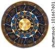Horoscope wheel with european zodiac signs and symbols - stock photo
