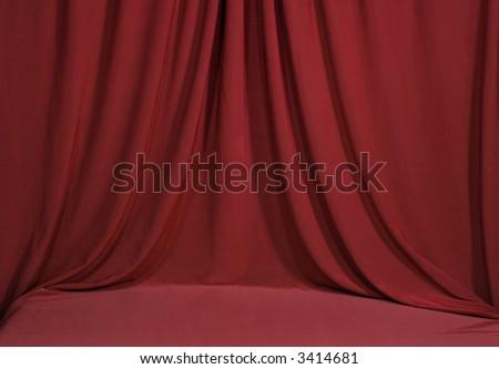 Horozontal Draped Red Velvet Backdrop Background - stock photo