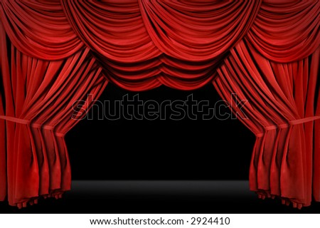 Horozontal old fashioned elegant theater stage with velvet curtains leading upstage in an arch - stock photo