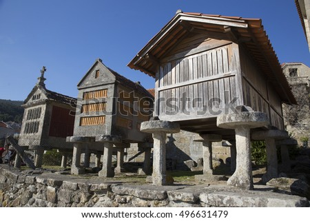 Horreo a traditional construction to keep harvested grain in northern Spain Galicia and Asturias