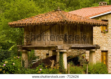 horreo,typical house,Asturias,Spain - stock photo