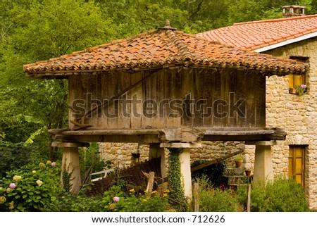 horreo,typical house,Asturias,Spain - stock photo