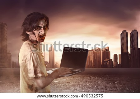 Horrible male zombies standing typing in laptop looking at behind go to the city