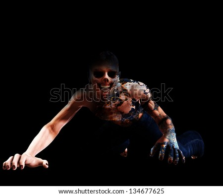 Horribly decomposing zombie - stock photo