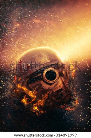 Horrific Soldier wearing Gas Mask and Steel Helmet in an Apocalypse War scenario with fire flames and rain in the Background - stock photo