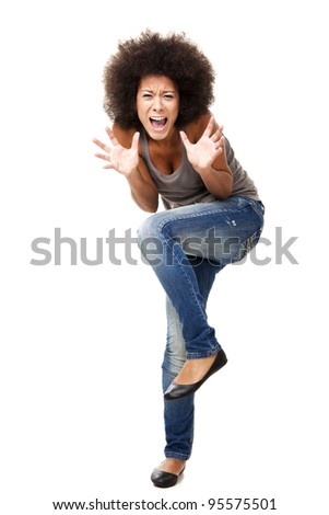 Horrified young woman in panic yelling, isolated on white - stock photo