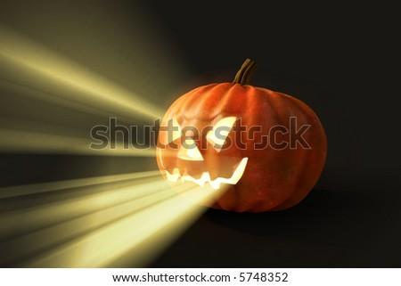 horrifying helloween pumpkin - stock photo