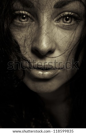horror emotion expression dark girl face - stock photo