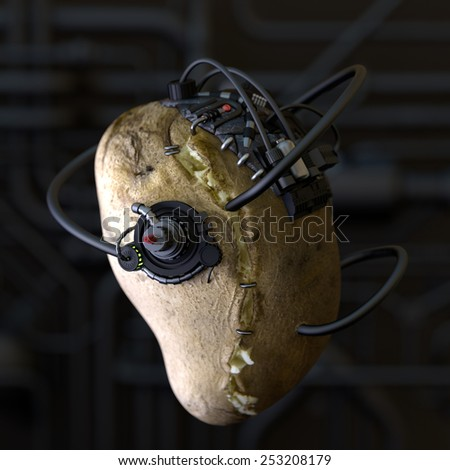 Horror food. Conceptual image for genetically modified produce, GMO. Borg potato. - stock photo