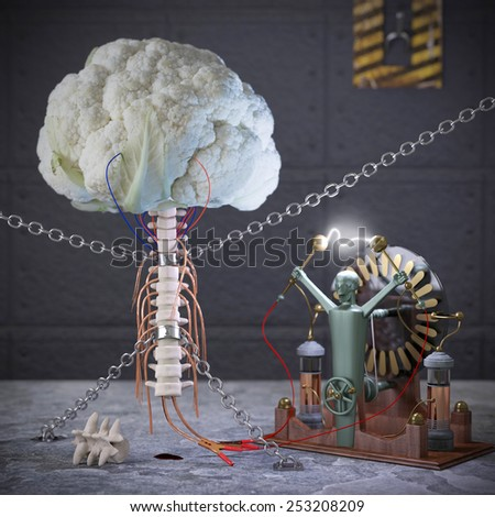 Horror food. Conceptual image for genetically modified produce, GMO. Cauliflower brain. - stock photo