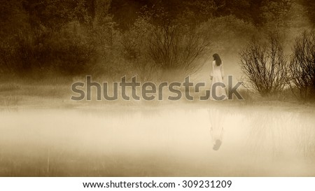 Horror haunted scene of a scary woman. - stock photo